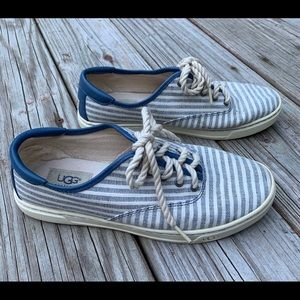 UGG Striped Blue and White Canvas Sneakers 8